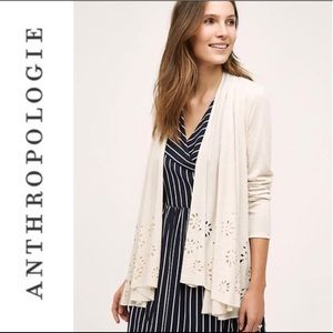 Anthropologie light tan flower cut out cardigan XS